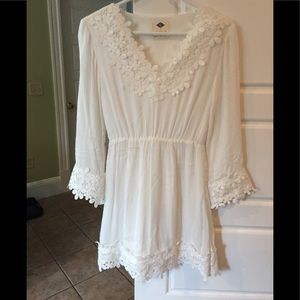 Adorable White Gauze Fabric with Lace Lined Dress